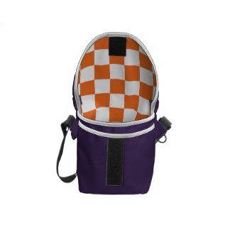 Orange Checkerboard Messenger Bag