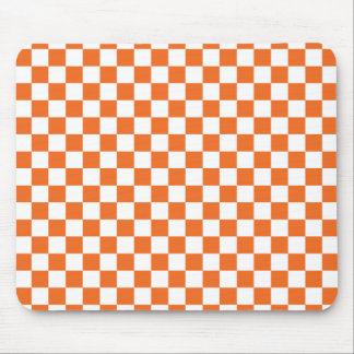 Orange Checkerboard Mouse Pad
