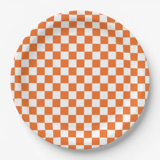 Orange Checkerboard Paper Plate
