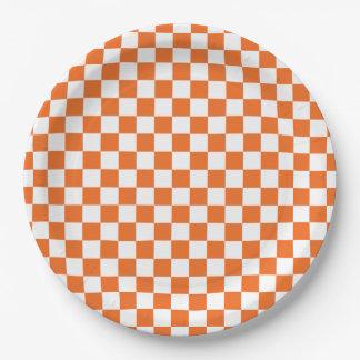 Orange Checkerboard Paper Plate