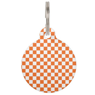 Orange Checkerboard Pet ID Tag