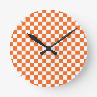 Orange Checkerboard Round Clock