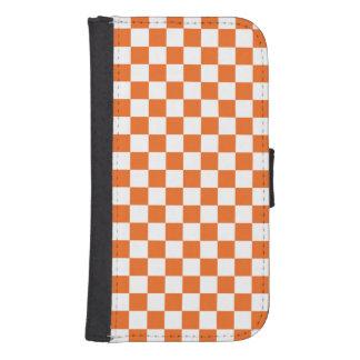 Orange Checkerboard Samsung S4 Wallet Case