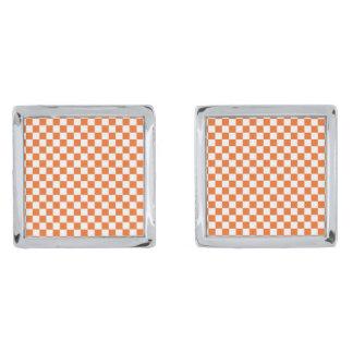 Orange Checkerboard Silver Finish Cuff Links