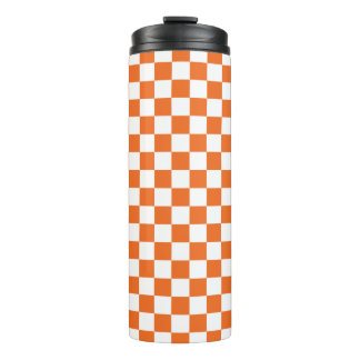 Orange Checkerboard Thermal Tumbler