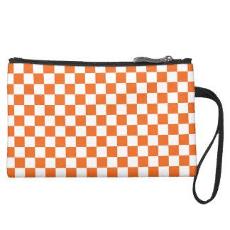 Orange Checkerboard Wristlet Purse