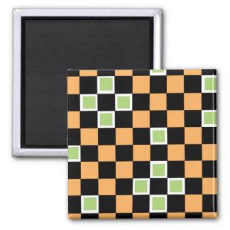 Orange Checkers Refrigerator Magnet