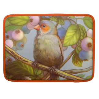 Orange cheeked waxbill finch with blueberries sleeve for MacBooks