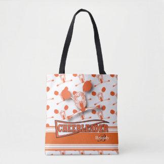 Orange Cheerleader Girl Tote Bag