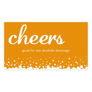 Orange cheers bubble wedding custom drink ticket pack of standard business cards