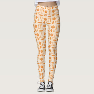 Orange Chef Cooking Tools Pattern Leggings