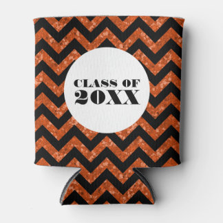 Orange Chevron Glitter Graduation Can Cooler