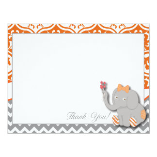 Orange & Chevron Grey Thank You Card