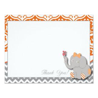 Orange & Chevron Grey Thank You Card 11 Cm X 14 Cm Invitation Card