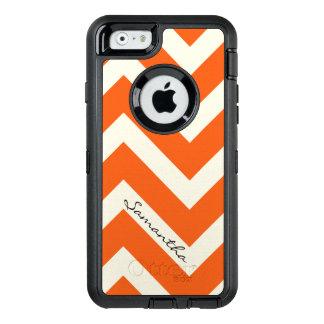 Orange Chevron Stripes with Monogram OtterBox Defender iPhone Case