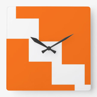 Orange Chevron Wall Clock