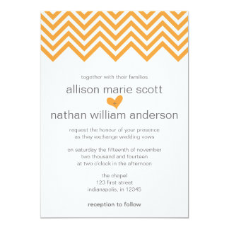 Orange Chevron Wedding Invitation