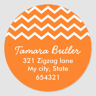 Orange chevron zig zag pattern address label round sticker