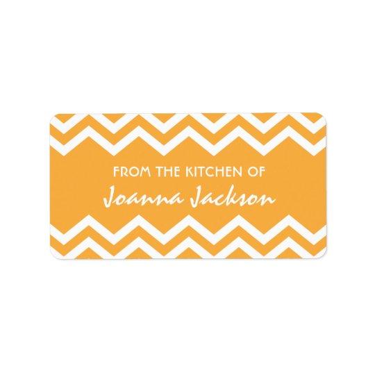 Orange chevron (zig zag) pattern kitchen labels