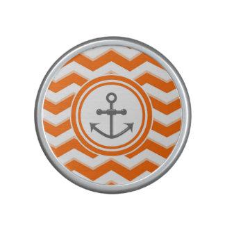 Orange Chevron Zigzag Pattern Anchor Smile Speaker