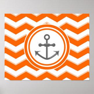 Orange Chevron Zigzag Pattern Anchor Smile Poster