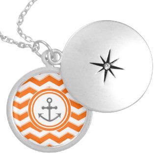 Orange Chevron Zigzag Pattern Anchor Smile Round Locket Necklace
