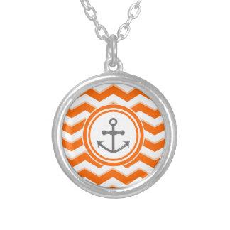 Orange Chevron Zigzag Pattern Anchor Smile Round Pendant Necklace