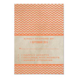 Orange Chic Chevron Response Card 9 Cm X 13 Cm Invitation Card