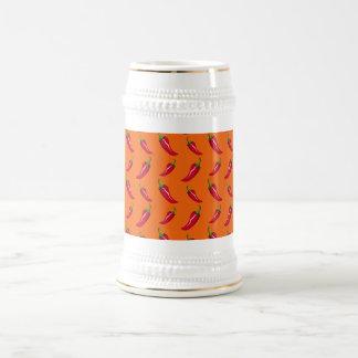 Orange chili peppers pattern coffee mug