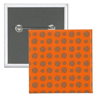 Orange chocolate chip cookies pattern button