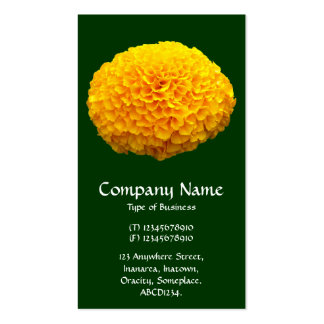 Orange Chrysanthemum - Dark Green Business Cards