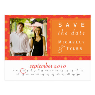 Orange Circle Save the Date Card Postcard