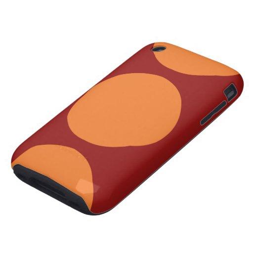 Orange Circles on Red Tough iPhone 3 Case