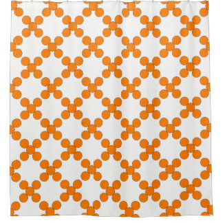 Orange Circular Trellis Shower Curtain