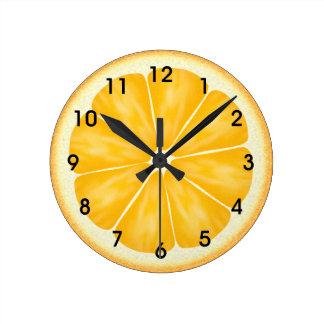 Orange Citrus Fruit Slice Round Clock