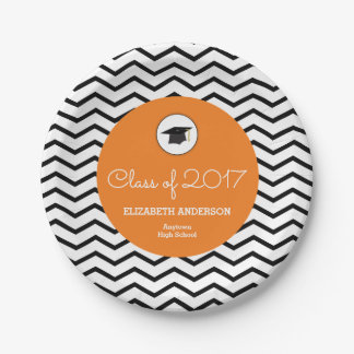 Orange Class of 2017 Personalised Graduation 7 Inch Paper Plate