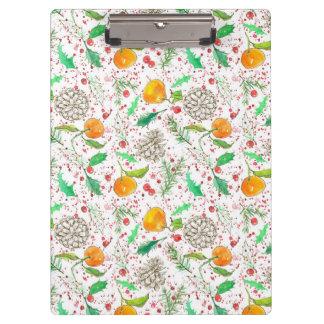 Orange Clementine Cranberry Pine Cone Custom Name Clipboard