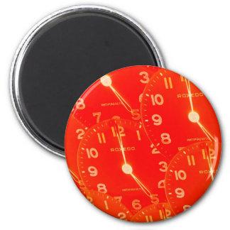 Orange Clock Face Fridge Magnet