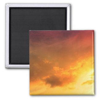 Orange Clouds Square Magnet