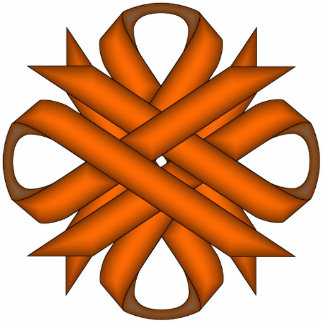 Orange Clover Ribbon Photo Sculpture Key Ring