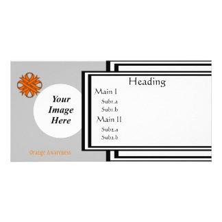 Orange Clover Ribbon Template Customized Photo Card