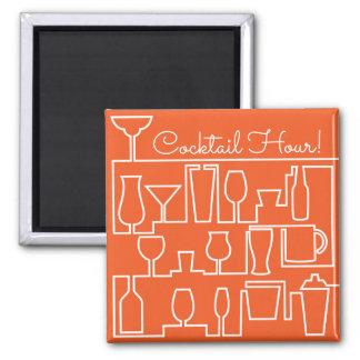 Orange cocktail party square magnet
