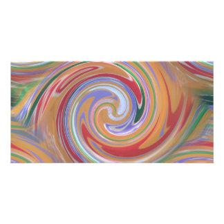 Orange color and rainbow swirl photo card