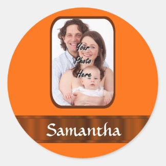 Orange color personalized round sticker