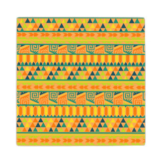 Orange Colorful Abstract Aztec Tribal Print Pattrn Wood Coaster