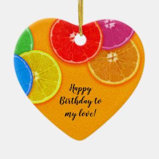 Orange colorful slices Birthday Ceramic Ornament