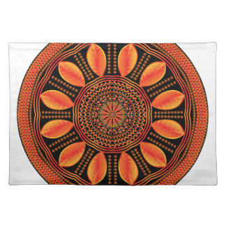 Orange Coloured Leaf Mandala Placemat