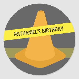 Orange Cone & Caution Tape Construction Birthday Round Sticker