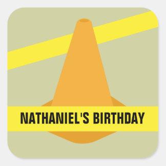 Orange Cone & Construction Tape Birthday Party Square Sticker