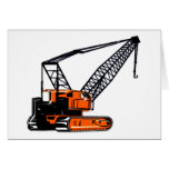 Orange Construction Crane Greeting Card